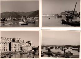 Lot 4 Photos Originales Barques De Pêche Et Yatchs Au Port Avec Maisons Et Ville En Arrière Plan à Identifier