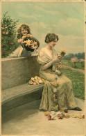 FEMME ET FILLETTE AVEC FLEURS SERIE 1520 MEISSNER - 1900-1949