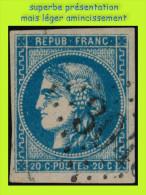 N° 46B III REP. 2 CÉRÈS ÉMISSION DE BORDEAUX 1870 -  BLEU VIF - OBLITÉRÉ B : SUPERBE PRÉSENTATION MAIS PETIT AMINCI - 1870 Bordeaux Printing
