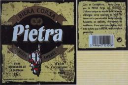"""ETIQUETTE De BIERE """" BIERA CORSA PIETRA """" Bière Ambrée à La Chataigne - Décollée Bon Etat - - Beer"""