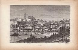 1883 - Gravure Sur Bois - Limoges (Haute-Vienne) - Vue Générale - FRANCO DE PORT - Estampes & Gravures