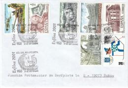 """Spanien 2001 Sonderstempel  VIGO  """"Exfilna 2001""""  Auf Brief - Poststempel - Freistempel"""