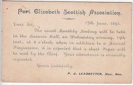 Cape Of Good Hope: 1d Postcard, Port Elizabeth Scottish Association, 18 Jun 1895 - South Africa (...-1961)