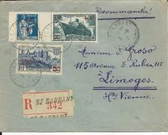 1942 - HAUTE VIENNE - ENVELOPPE RECOMMANDEE De ST BARBANT AVEC SURCHARGES - 1921-1960: Période Moderne
