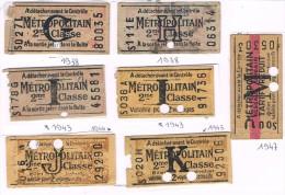 Titre De Transport 7 Tickets PARIS 1938 à 1947 Dont Réseau Urbain Tarif Réduit Métro Bus Tram Métropolitain - Transportation Tickets