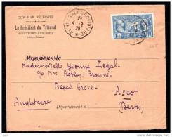 Lettre De Montfort Sur Meu, Oblitération RENNES A LA BROHINIERE Sur Timbre N° 245, 1928 TTB - Posta Ferroviaria