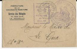 1944 - ENVELOPPE En FRANCHISE Du SERVICE DES REFUGIES à LA ROCHELLE Pour LE GUA (CHARENTE MME) - Marcophilie (Lettres)