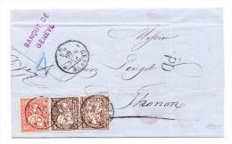 Schweiz 5 (2) Und 30Rp Sitzende Auf Brief  21.11.1866 Genève Nach Thonon F - Briefe U. Dokumente