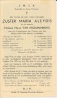 Doodsprentje - Zuster Maria Aleydis (Melanie Maria Van Kroonenborg) ° Stevoort 1878 + Berlaar 1955 - Religión & Esoterismo