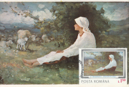 PAINTINGS, NICOLAE GRIGORESCU- SHEPHERDESS SITTING, CM, MAXICARD, CARTES MAXIMUM, 1977, ROMANIA - Künste