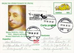 BLAISE PASCAL, MATHEMATICIAN, REGISTERED PC STATIONERY, ENTIER POSTAL, 2001, ROMANIA - Physik