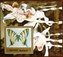 MANAMA PAPILLONS + Orchidée (BF 3). Neuf Sans Charniere. MNH - Schmetterlinge