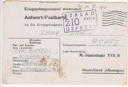 Italy: PoW Prisoner Of War Postcard, Stalag XVII A, To Alessandria, 1 July 1944 - Militaria
