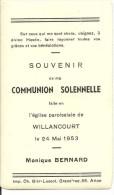 Musson Willancourt  Monique Bernard Communion Solennelle 24 Mai 1953 - Musson