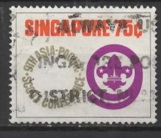 """SINGAPORE 1974 9th Asian-Pacific Scout Conference - 75c Scout Badge Within """"9""""  FU - Singapour (1959-...)"""