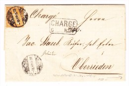 Schweiz 20Rp. Sitzende 22.5.1868 Zürich Chargé Brief Nach Oberrieden Mit Schiff Stempel L.Ufer.Z.S. - 1862-1881 Helvetia Assise (dentelés)