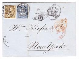 Schweiz Brief 15.11.1864 Basel Nach New-York Mit 1Fr. Und 10Rp. Sitzende Auf - 1862-1881 Helvetia Assise (dentelés)