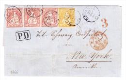 Schweiz Douanne 20.8.1866 Briefhülle Nach New-York Mit 30Rp (3) Und 20Rp Sitzende - 1862-1881 Helvetia Assise (dentelés)