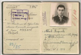 ITALIA  - 1954  PASSPORT  - PASSEPORT - Several VISAS And  Revenue Stamps - Holder Declare A Piano Accordion (scan 7) - Documentos Históricos
