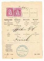 Schweiz Zürich 26.10.1880 Mit 10Rp Sitzende (2) Auf PTT Rückschein Teil - 1862-1881 Sitzende Helvetia (gezähnt)