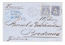 Schweiz Zu#41a (2) 30Rp Sitzende Auf Brief 30.4.1870 Genève Nach Bordeaux Attest Hermann - 1862-1881 Helvetia Assise (dentelés)