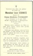 Rouvroy Montquintin Jean Schmitz Epoux De Mathilde Toussaint Vielsalm 1889 Montquintin 1957 - Rouvroy