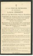 Virton Louis Zimmer Epoux De Odile Durdu President Du Bureau Des Marguilliers Paris 1867 Virton Saint Mard 1934 - Rouvroy