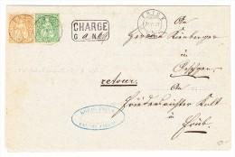 Vorladung Als Chargé Brief Frick 4.7.1877 Mit 20 Und 25Rp Sitzende Helvetia - 1862-1881 Helvetia Assise (dentelés)
