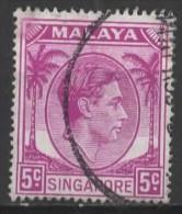 SINGAPORE 1948 King George VI - 5c. - Mauve  FU - Singapour (...-1959)