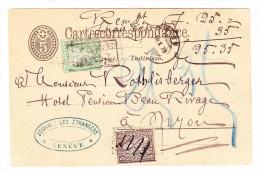NN 35Rp Postkarte 5Rp Mit 5 Und 25Rp Sitzende Zusatz Aus Genève (Kastenstempel) Nach Nyon 18.10.1878 Ankunft - 1862-1881 Helvetia Assise (dentelés)