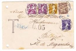 Brief  Locle 11.8.1921 Taxiert 5Rp Wegen Ungültigkeit Der 5Rp. Sitzende Gesendet Nach Bilbao - 1862-1881 Helvetia Assise (dentelés)