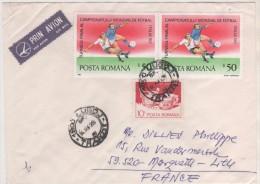 FOOTBALL COUPE DU MONDE ITALIE 1990  - PAIRE DE TIMBRES DE ROUMANIE SUR ENVELOPPE POUR LA FRANCE  - VOIR LE SCANNER - Coupe Du Monde