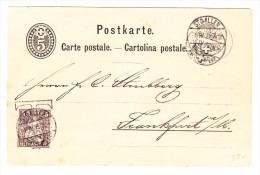 Postkarte 5Rp. St Gallen 6.4.1879 Ges Nach Frankfurt 5Rp Taxiert Und Und Geregelt 1 Stunde Später (siehe Stempeln) - 1862-1881 Helvetia Assise (dentelés)