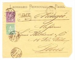 Schweiz Sitzende Helvetia Faserpapier 25 Und 50Rp Auf Briefvorderseite 23.1.1882 Basel Brf.Distr. Attest Guinand - 1862-1881 Helvetia Assise (dentelés)