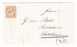 Schweiz Sitzende Helvetia 2Rp Hellrotbraun 24.5.1874 Unterstrass Auf Werbebrief Nach Solothurn - 1862-1881 Sitzende Helvetia (gezähnt)
