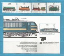 BELGIUM 1985 TREINEN / TRAINS / BLOK + ZEGELS  **   SUPER SALE  ...  ZIE SCAN ................ BE23 - Treinen