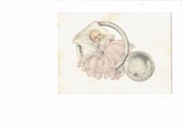 Petite Carte Db - Faire-part De Naissance - Bébé Fille Robe Rose Dans Jouet Hochet -art-chap Paris - - Birth