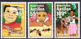Netherlands Antilles 1983 Child Welfare Animals Lizard Ant Donkey Children Stamps MNH Michel 500-502 - Unclassified