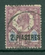 British Levant: 1911/13   Edward    SG30   2pi On 5d  Dull Reddish Purple & Bright Blue    Used - Levante Britannico