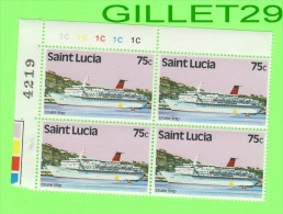 TIMBRES - ST LUCIE - BLOC, SAINT LUCIA 4 X 75c - CRUISE SHIP - NEUF - MINT - - St.Lucie (1979-...)