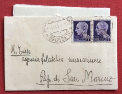 LUOGOTENENZA L.1 COPPIA SU BUSTINA CON LETTERA DA GROSSETO A SAN MARINO IN DATA 3/11/45 - 1946-60: Marcophilia
