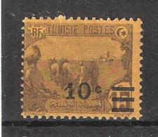 TUNISIE , 1928, Yvert N° 155 , Surchargé 10 C Sur 15 C Brun / Jaune, Neuf *, TB - Tunisie (1888-1955)