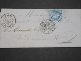 FRANCE - Env De Paris Pour Le Nord Avec Cachet Taxe 30 - Pas Courant - Fev 1866 - P 16063 - Timbres