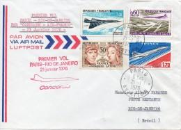 """1"""" Vol Paris Rio De Janeiro Par Concorde 21 Janvier 1976 - Poste Aérienne"""