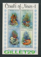 TIMBRES, ST KITTS-ET-NEVIS - BLOC NEVIS  4 X 30c,  CORALS OF NEVIS ..1 - AVEC EMBALLAGE ORIGINAL - NEUF, MINT - - St.Kitts-et-Nevis ( 1983-...)