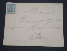 FRANCE - Env Pour Paris Affranchie Au Type Sage Avec Cachet De Facteur GO 1 Sur Le Timbre - Août 1896 - P 16065 - Marcophilie (Lettres)