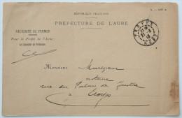 Enveloppe Préfecture De L'Aube, Troyes 1913 --> Troyes En Franchise Postale - 1877-1920: Période Semi Moderne