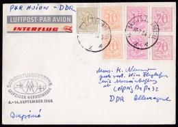 Belgium: Special Flight Card 1964, Brussels-Leipzig, 7 Stamps, Nice Interflug Airmail Label (minor Discolouring, Crease) - België