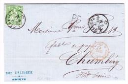 Brief  Genève 4.12.1864 Mit 40Rp Sitzende Helvetia Auf Brief Nach Chambéry - 1862-1881 Sitzende Helvetia (gezähnt)