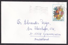 Belgium: Cover To Germany, Single Franking, Flowers (traces Of Use) - Belgium